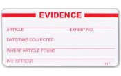 "White Super-Stick Evidence Seal - ""Evidence"" - 100/roll"