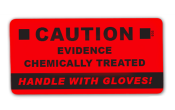 Seals - CAUTION - CHEMICALLY TREATED EVIDENCE - 100 red seals/roll